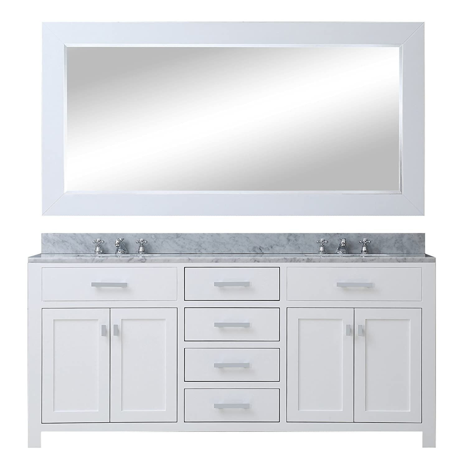 water creation madison 60wb 60inch solid white double sink bathroom vanity with matching framed mirror amazoncom - 60 Inch Vanity