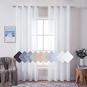 MIULEE 2 Panels 84 Inch Farmhouse Linen Sheer Window Curtains Elegant Solid White Drapes Grommet Top Window Voile Panels Linen Textured Panels for Bedroom Living Room (52 X 84 Inch)