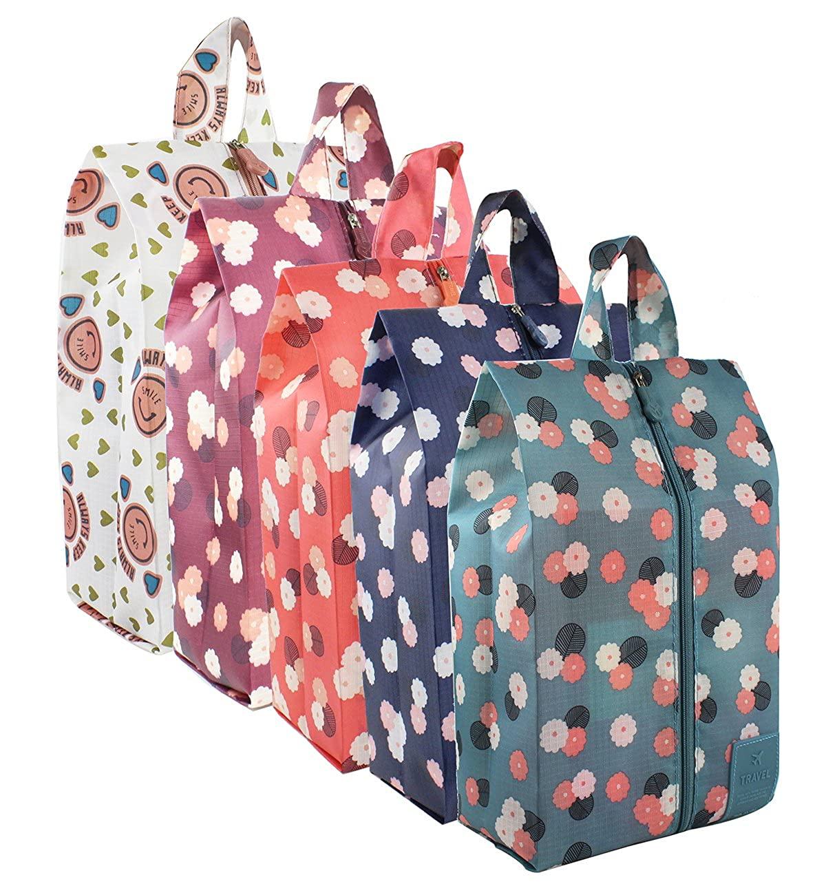 bbb1897180dc Consists of 5 bags, blue, burgundy, red, navy with daisy and pink smiling  face print. ☆【WATERPROOF MATERIAL】High quality nylon, lightweight,  portable, ...
