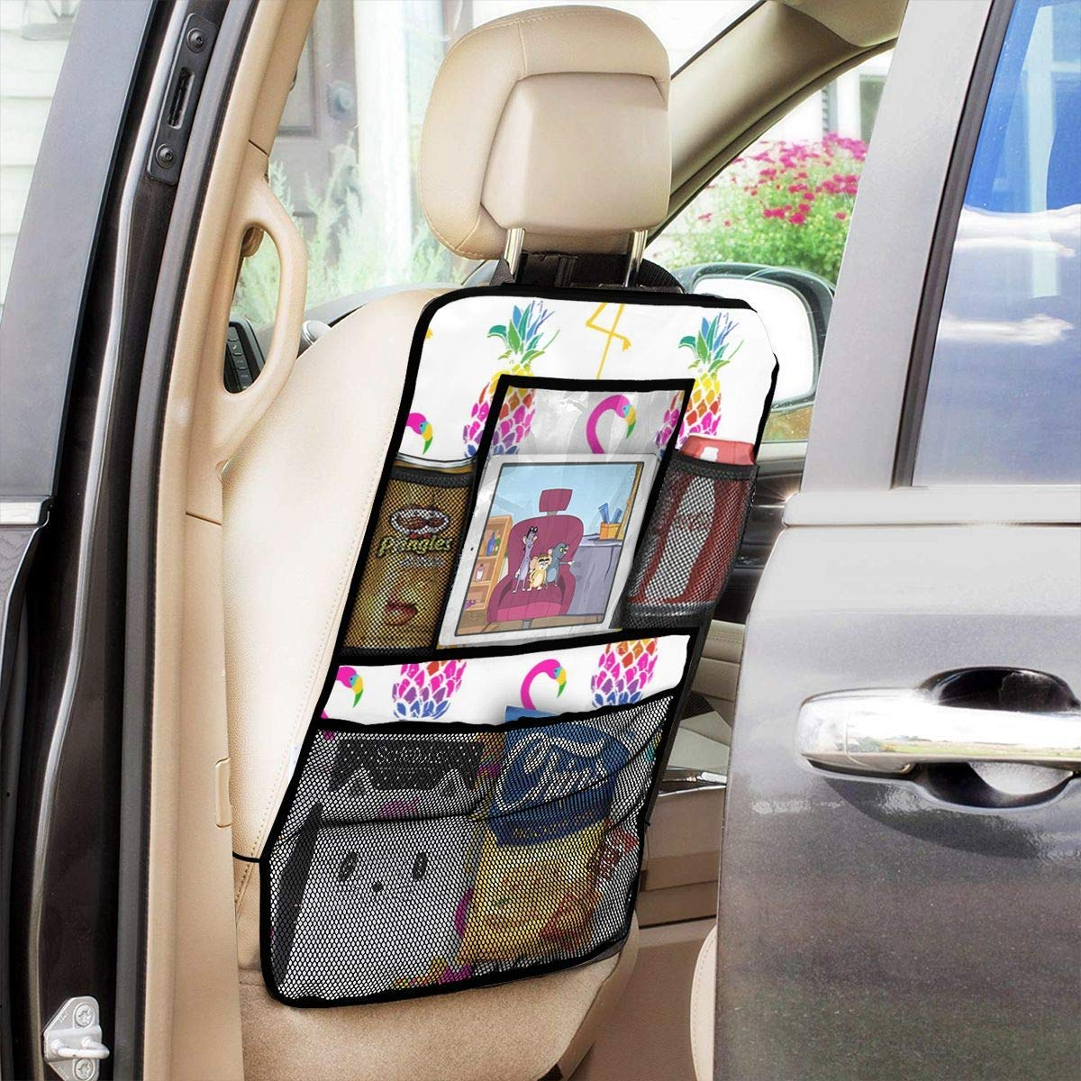 AGnight Bright Flamingo Birds and Pineapples Car Back Seat Organizer Universal,27.5-by-19-inch, Pack of 2