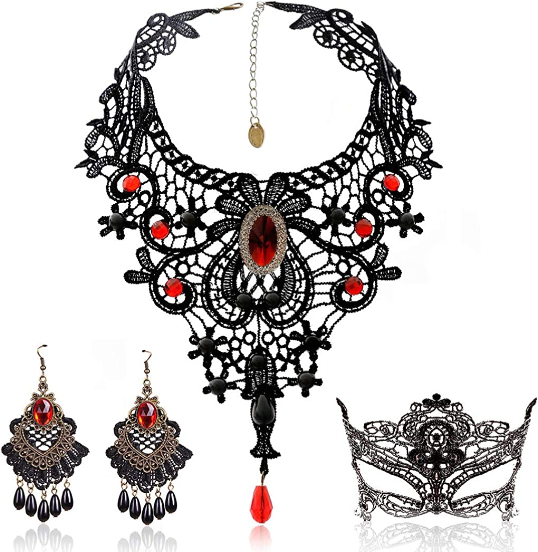 BagTu Black Lace Necklace and Earrings Set, Gothic Lolita Red Pendant Choker for a Halloween Costume and Wedding