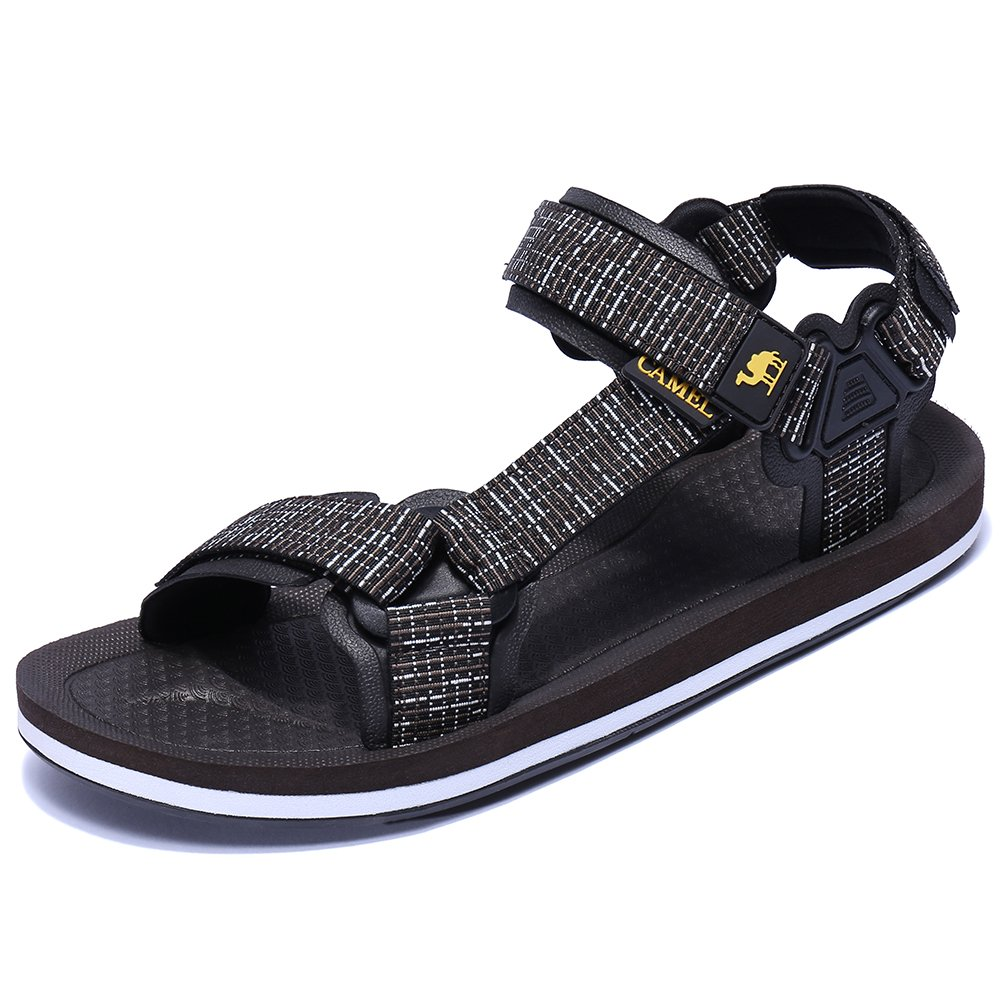 Camel Mens Athletic Sandals Comfortable Water Sandals Anti-skidding Outdoor Sport Sandals Lightweight Flat Sandals Brown 42