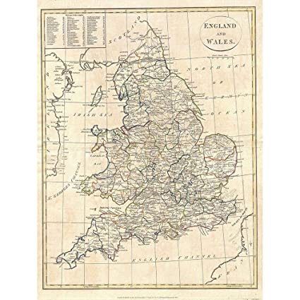 Map Of England Poster.Amazon Com Wee Blue Coo 1799 Clement Cruttwell Map England Vintage