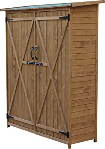 Outsunny Fir Wood Storage Shed, Waterproof Outdoor Tool Organizer Cabinet for Garden Backyard with Lockable Doors