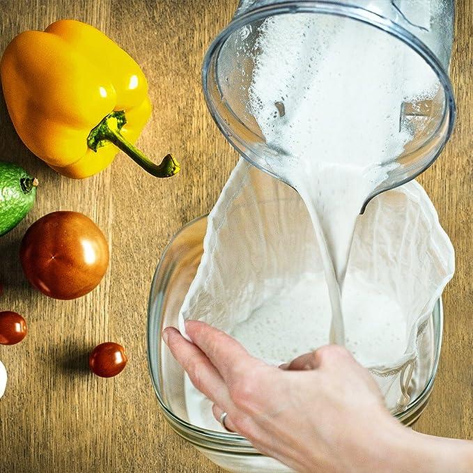 gudong Sac /à Lait de Noix-Cr/épine Alimentaire r/éutilisable Multiple,10x12 inches Coton Organique de cat/égorie Comestible,Filtre pour Le Lait damande//soja,Le caf/é,Le th/é et Le jus de Fruit 2Pack