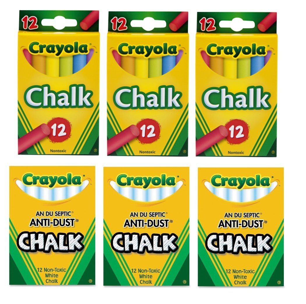 Crayola Non-Toxic 3 Anti-Dust White Chalk and 3 Colored Chalk Bundle Arts & Crafts Educational Toys