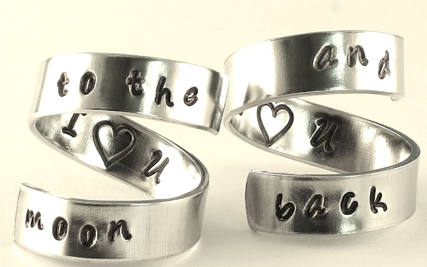 Adjustable Twist Wrap Aluminum Ring SET Handed Stamped I love you to the moon and back