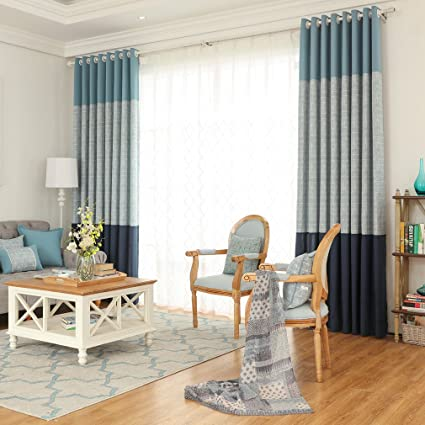 Double Jacquard Blackout Bedroom Window Curtains For Living Room Cotton Plaid Geometric Curtain Panels Blue Green