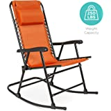 Best Choice Products Foldable Zero Gravity Rocking Patio Recliner Chair Orange