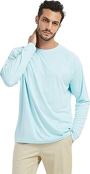 Outdoor Rashguard Long Sleeve SPF,Fishing,Hiking,Swim T-Shirts Sky Blue SERHOM Mens UV Sun Protection UPF 50