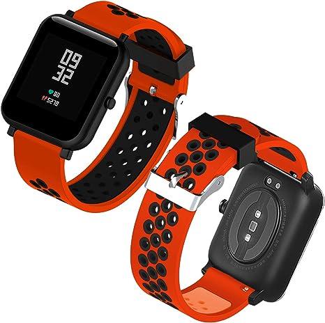 Imagen deTh-some Correa para Amazfit Bip Impermeable Universal - Reemplazo de Pulsera Ajustable para Xiaomi Huami Amazfit Bip bit Lite Youth Watch Sin Tracker (Rojo Negro3)