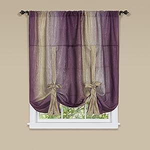 "Achim Home Furnishings OMTU63AB06 Ombre Tie up Shade Window Curtain, 50"" x 63"", Aubergine"