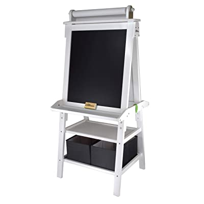 Little Partners 2-Sided A-Frame Art Easel with Chalk Board, Magnetic Dry Erase, Storage, Paper Feed and Accessories for Toddlers (Soft White): Home & Kitchen