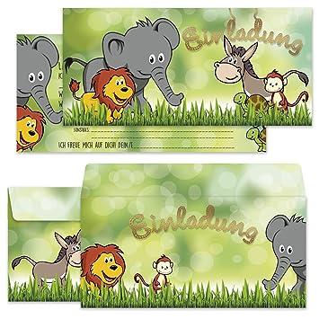 Codiarts Set Mit 12 Einladungskarten Kindergeburtstag Lustige Tiere Inkl.  12 Briefumschlägen Im Passenden Design,