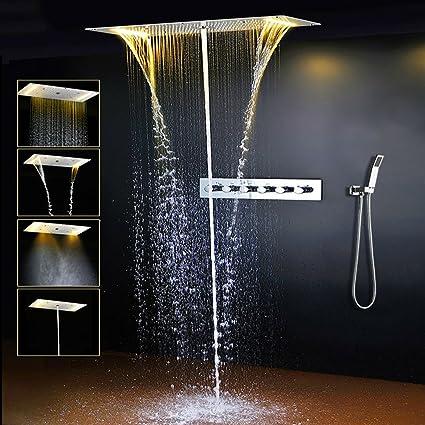 ONLT Set para la ducha,380x700mm LED multifuncional termostático Sistema de ducha ,espray efecto spa, modo lluvia, 304 de acero inoxidable, con ...