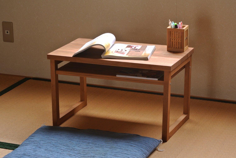 ロータイプの天然木デスク 日本製 幅60cm