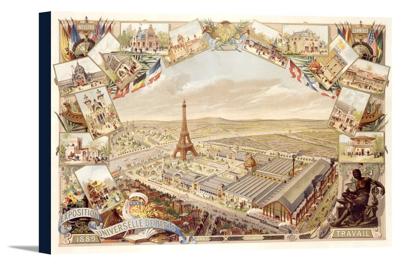 Exposition Universelle Deパリフランス1889ヴィンテージポスターC。1889 36 x 23 7/8 Gallery Canvas LANT-3P-SC-59824-24x36 36 x 23 7/8 Gallery Canvas  B0184APWIW