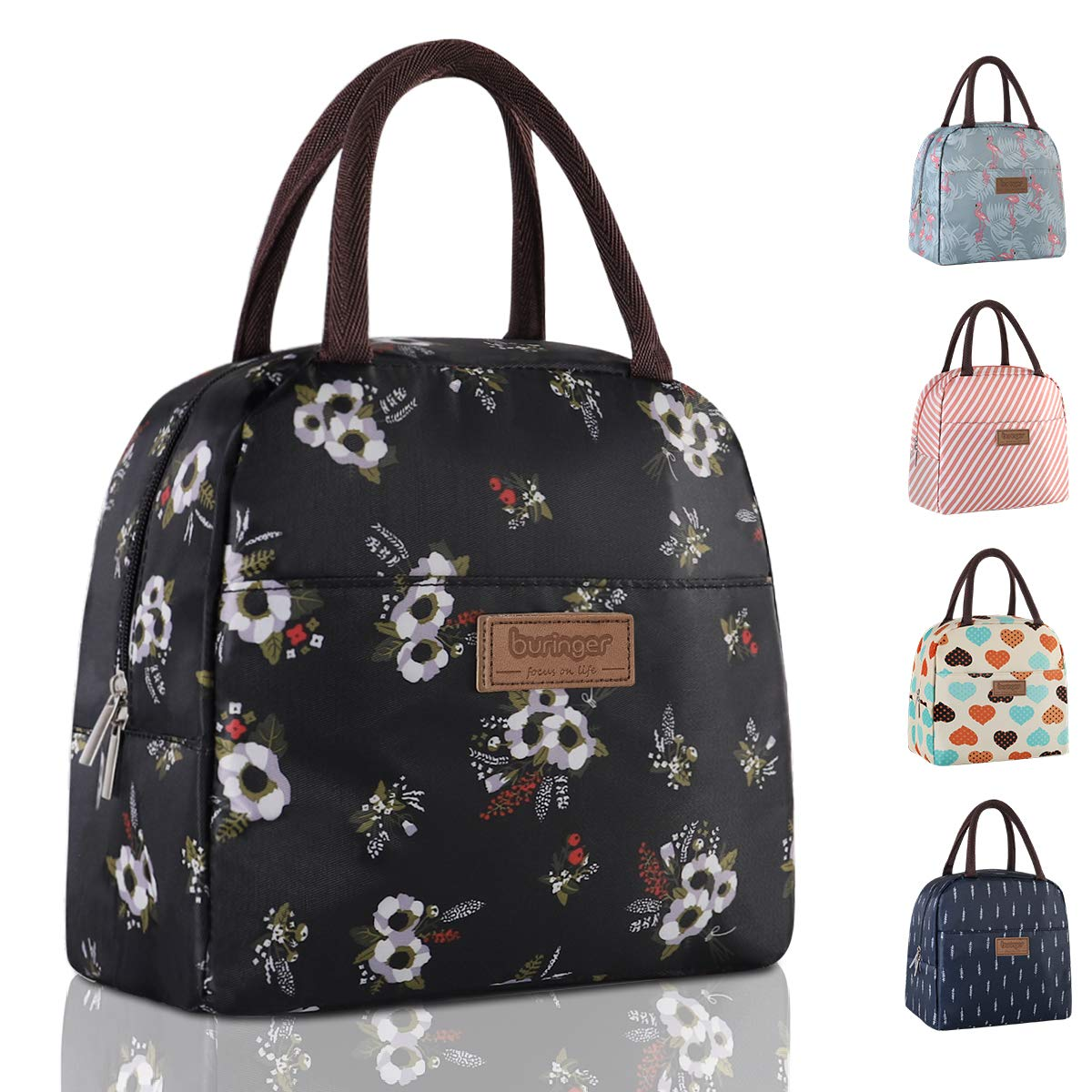 Buringer Reusable Insulated Lunch Bag Cooler Tote Box with Front Pocket Zipper Closure for Woman Man Work Picnic or Travel (Flying Flowers Large Size)