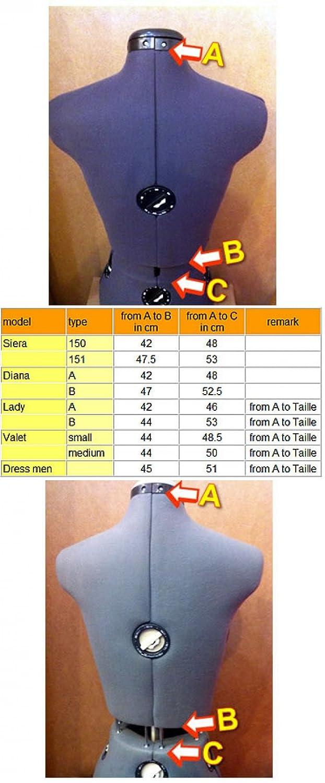 Lewenstein Diana Buste de Couture Mannequin Femme r/églable Taille 52 /à 58 Mod/èle D