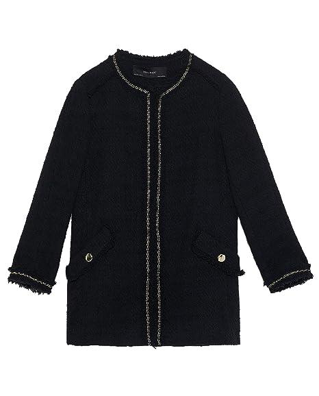 7bcd3458 Zara Women's Tweed Frock Coat with Pockets 8163/606 Black: Amazon.co ...