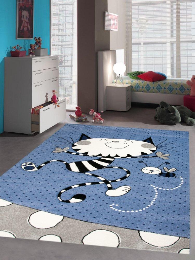 Traum Kinderteppich Spielteppich Kinderzimmerteppich mit Katze Biene in Blau Creme Größe 160x230 cm