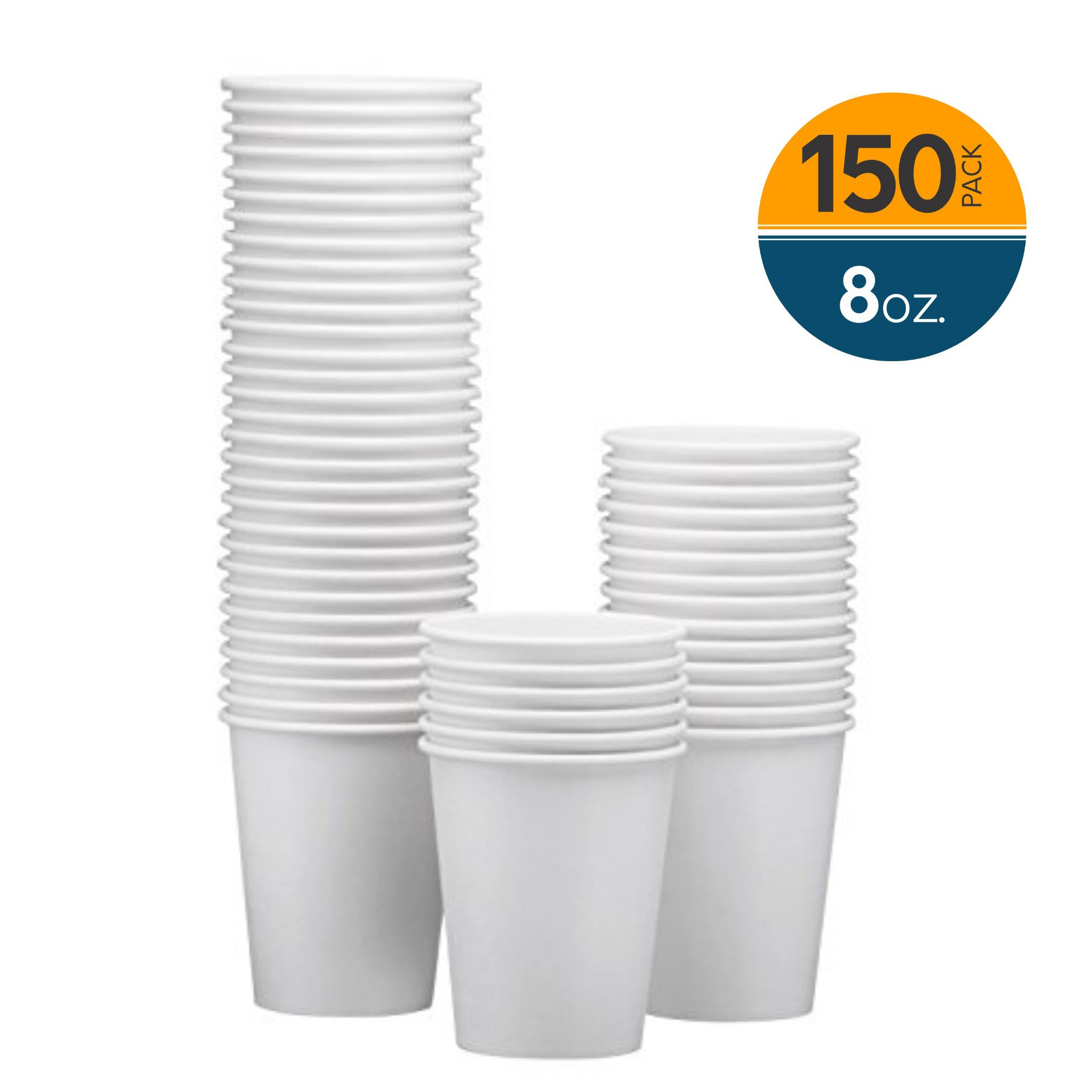 NYHI 150-Pack 8oz White Paper Disposable Cups – Hot/Cold Beverage Drinking Cup for Water, Juice, Coffee or Tea – Ideal for Water Coolers, Party, or Coffee On the Go'