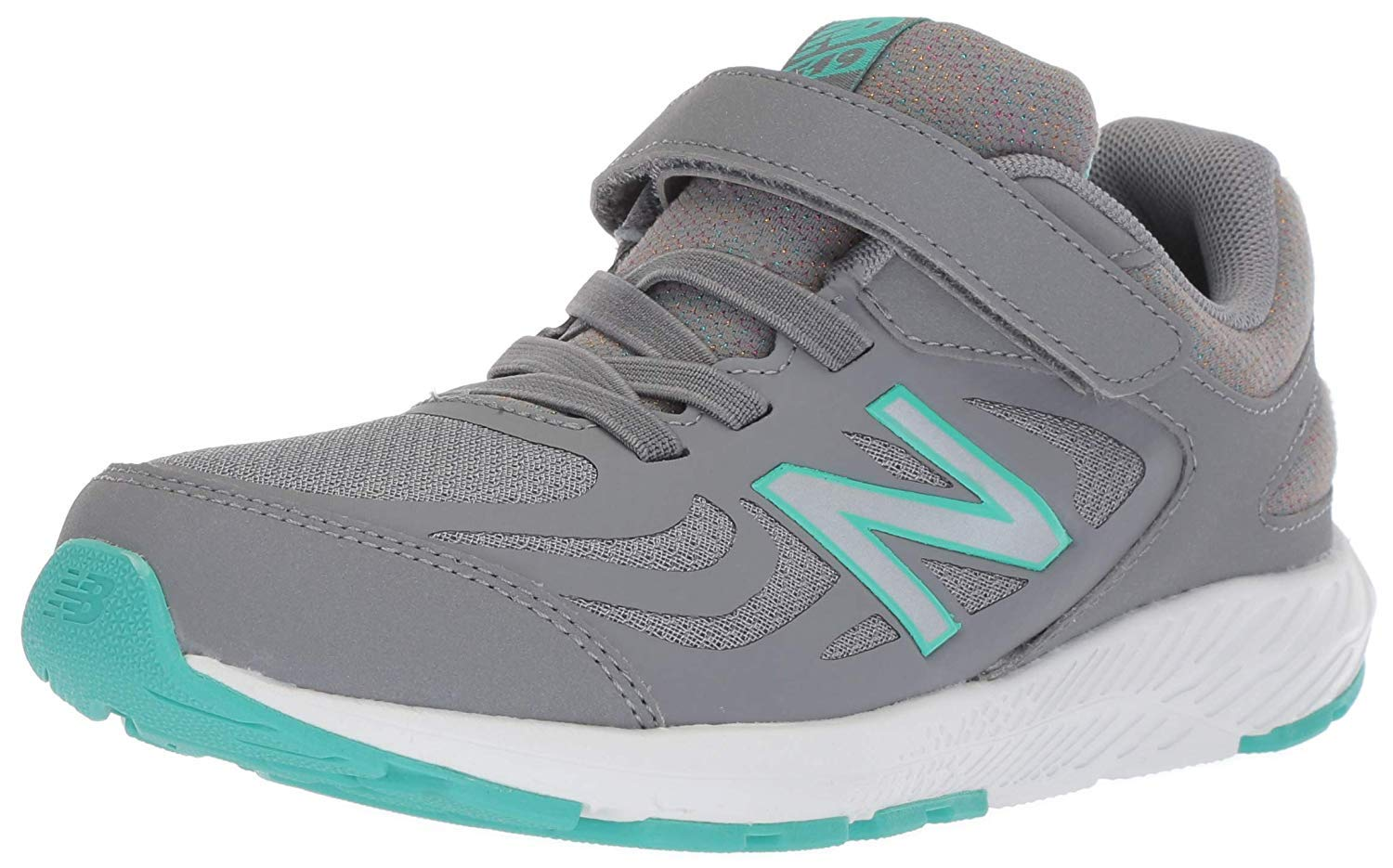 New Balance Girls' 519v1 Hook and Loop Running Shoe, Gunmetal/Aquarius, 2 M US Infant