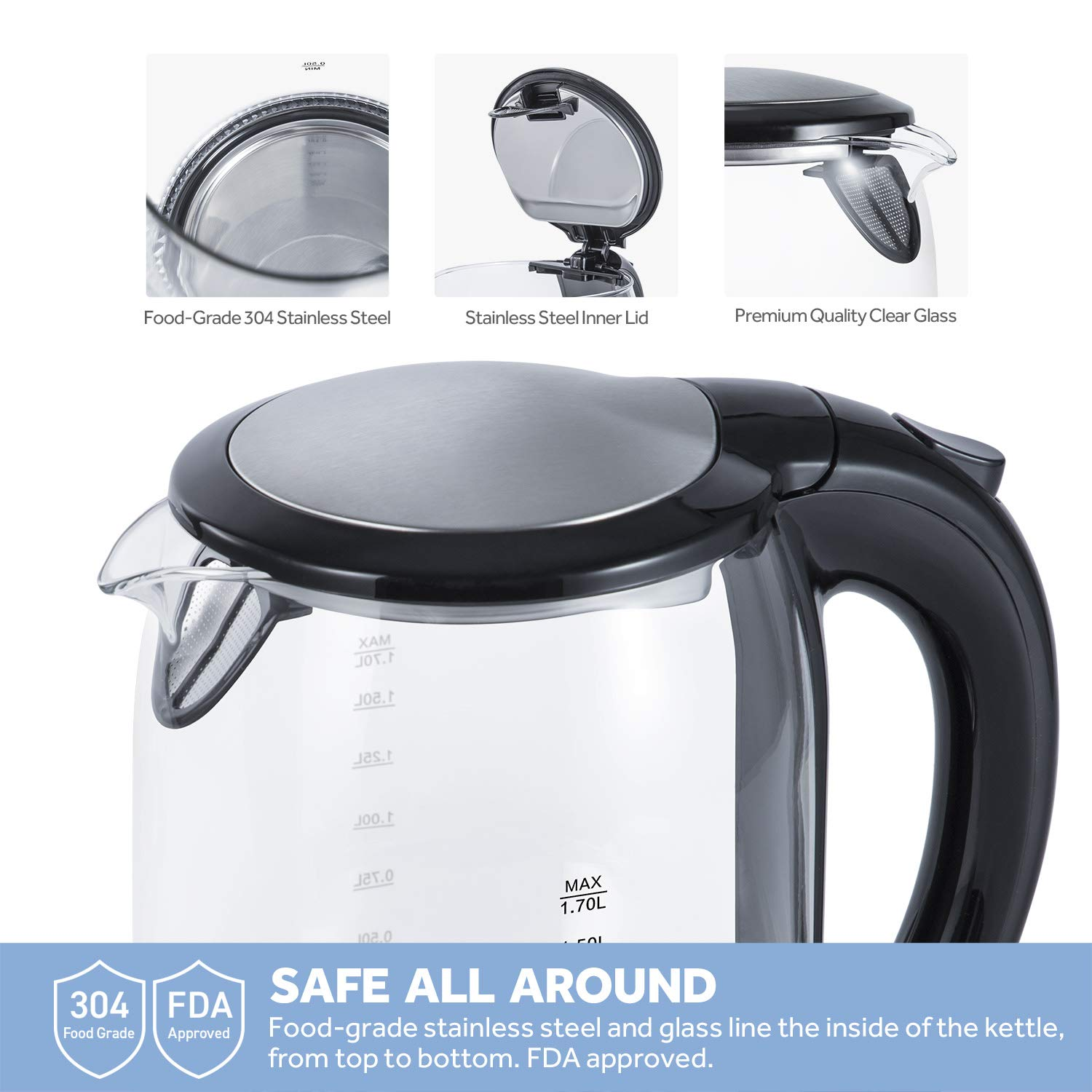 COSORI 1.7L Electric Kettle(BPA-Free), Cordless Glass Boiler,Coffee Pot,Water & Tea Heater with LED Indicator,Auto Shut-Off & Boil-Dry Protection,100% Stainless Steel Inner Lid & Bottom,1500W,CO171-GK by COSORI (Image #2)