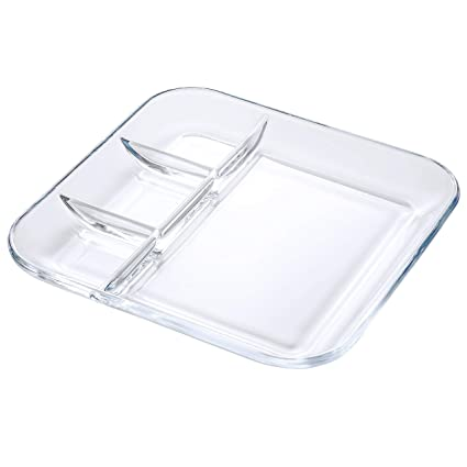 Amazoncom Foyo Tempered Glass Divided Transparent Salad Plates