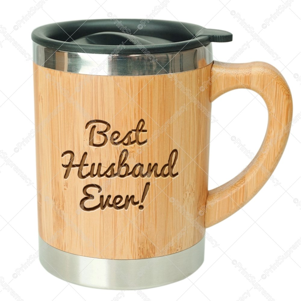 Best Husband Ever-Stainless Steel Bamboo Coffee Mug Insulated with Lid Husband Coffee Mug,Gift for Husband,Husband Mug, Husband Gift, Husband Birthday Gift,Mug for Husband,Husband Gift Idea,Hubby Mug