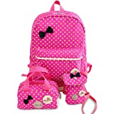 School Bags for Girls Cute Dot 3 Sets Kids Book Bag School Backpack Handbag Purse Lightweight Waterproof Canvas Versatile Backpack (Rose Red)