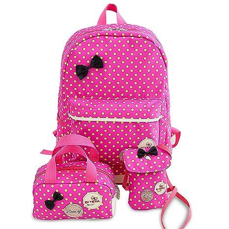 8c7db762be98 School Bags for Girls Cute Dot 3 Sets Kids Book Bag School Backpack Handbag  Purse Lightweight Waterproof Canvas Versatile Backpack (Rose)
