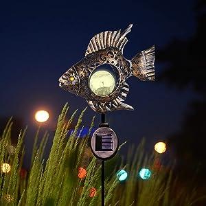 Solar Outdoor Pathway Lights Garden Decoration Outdoor Lights,Metal Fish Led Garden Lights Solar Powered Waterproof