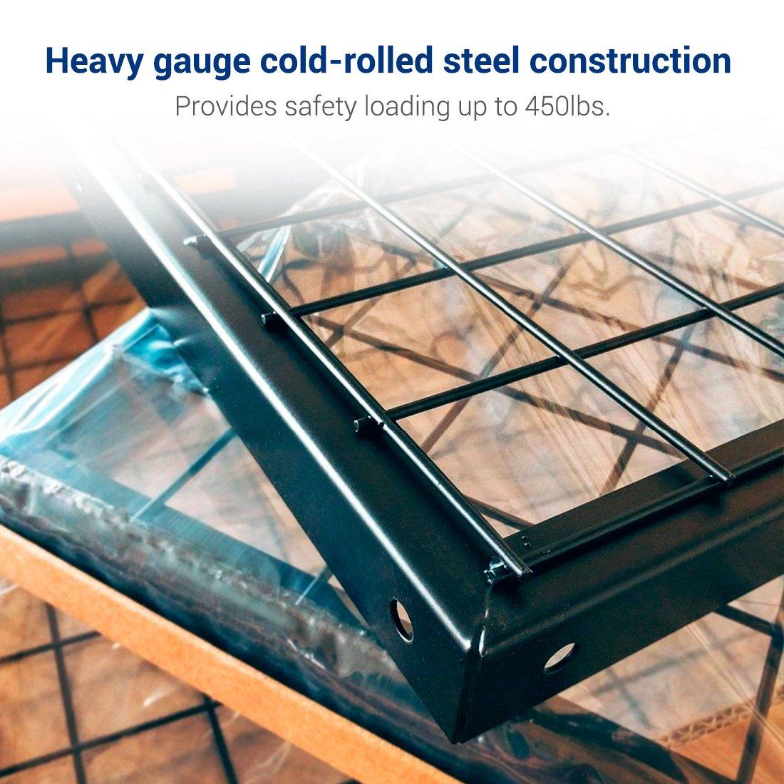 FLEXIMOUNTS 4x6 Heavy Duty Overhead Garage Adjustable Ceiling Storage Rack, 72'' Length x 48'' Width x 40'' Height, Black by FLEXIMOUNTS (Image #3)