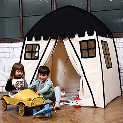 Love Tree Large Kids Teepee Tent Portable Children Play Tent for Boys Indoor Outdoor Use Fort with Carrying Case Black: Toys & Games