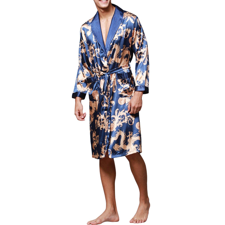 a1ec3bd89e Sidiou Group Vestaglia Kimono Uomo Abito Kimono Pigiama Vestaglia Raso  Manica Lunga Camicie da Notte Accappatoio Biancheria da Notte Abito da Notte  ...