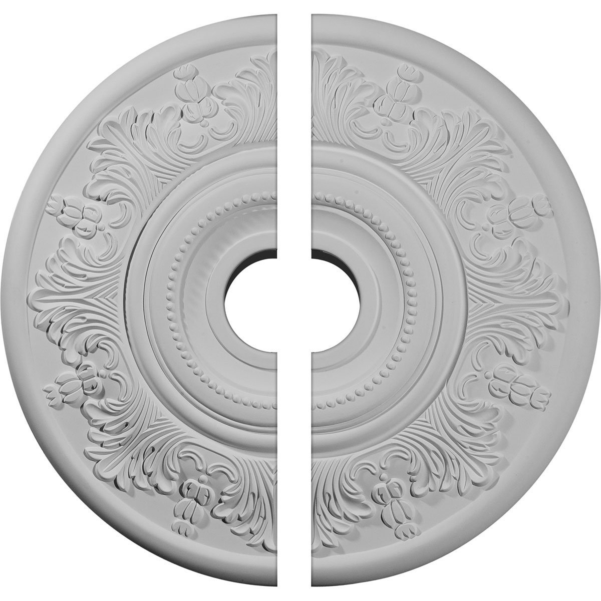 Ekena Millwork CM20VI2 20'' OD x 3 ID x 1 P Vienna Ceiling Medallion, Two Piece (Fits Canopies up to 6 1/2''), Factory Primed and Ready to Paint