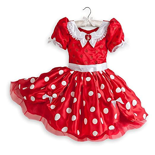 2570d3f4b40 Disney Store Minnie Mouse Costume Dress Size Medium 7/8-Red with White  Polkadots