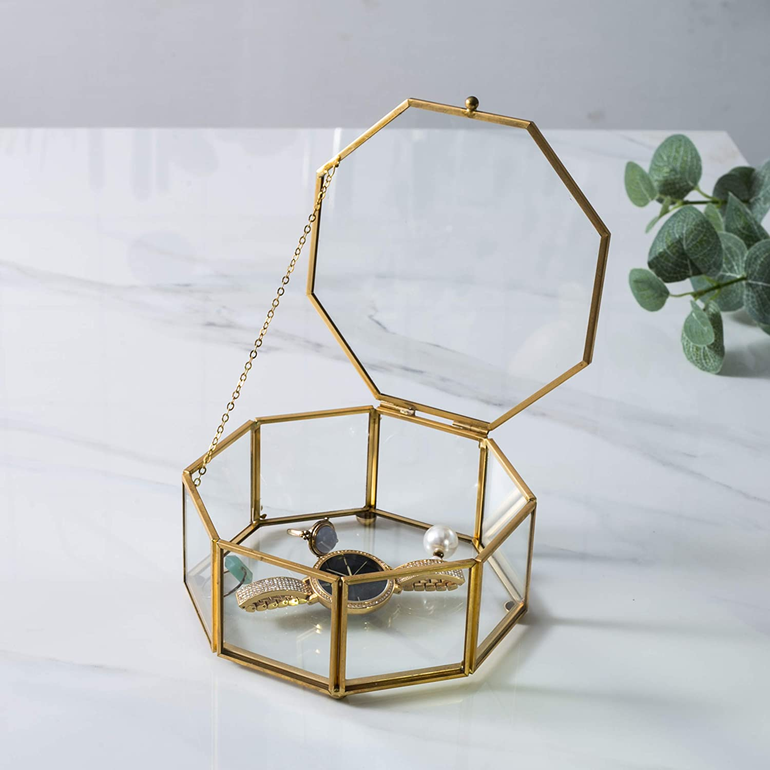 WANYA 5.6x5.6x2.6 Decorative Octagon Glass Trinket Box for Plant Jewelry Display with Hinged Top Lid