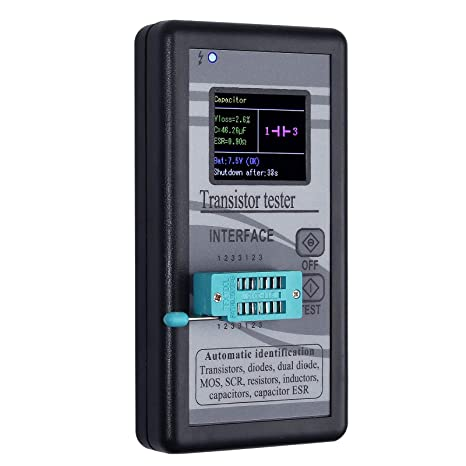 blanco LCD Digital Capacitor ESR Tester Medidor de resistencia interna Prueba en circuito