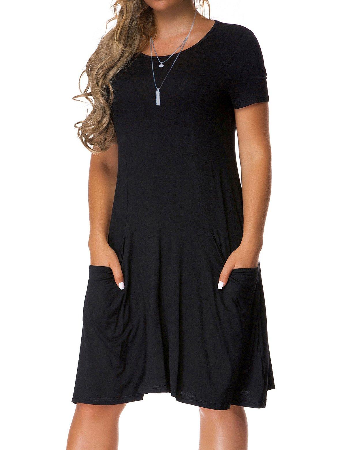 VERABENDI Women's Plus Size Short Sleeve Dress Casual Loose Pocket T-Shirt Dress Black L