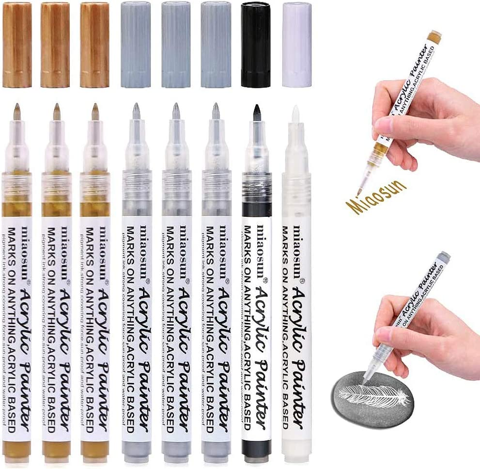 Acrylic Paint Pens 12 Pack 4 Black 4 White 2 Gold 2 Silver 0.7mm Painting Marker