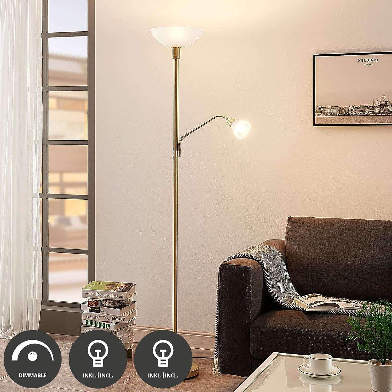 Soggiorno /& Sala da pranzo di Lindby 2 luci, A+ lampada da terra lampada a LED da pavimento in Metallo ad es lampada da pavimento Lampada LED da terra Jost colore Oro