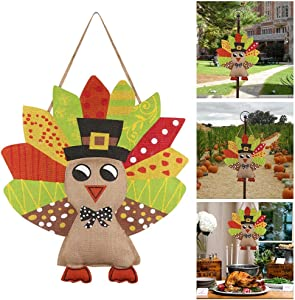 "AerWo Turkey Burlap Door Decor, Happy Harvest Sign Thanksgiving Wall Decoration for Home Outdoor Thanksgiving Harvest Decorations-20 W x 22"" H"