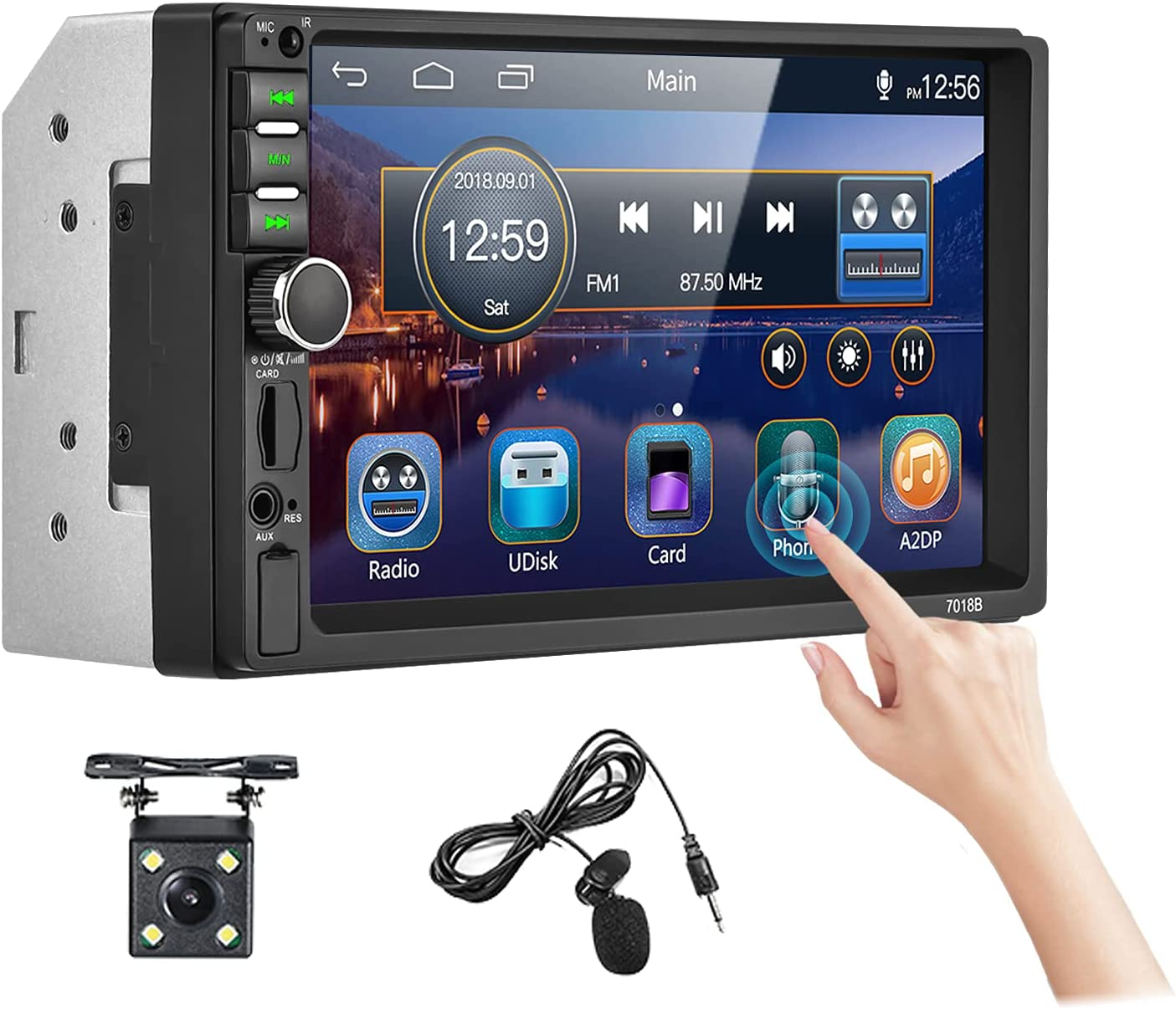 """Double Din Car Stereo 7"""" HD Touchscreen Bluetooth Car Audio Receiver Support FM Radio/USB/SD/AUX in/Mirror Link/Hands Free Calling Autoradio with Backup Camera+Microphone +Wireless Remote+SWC"""