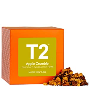 T2 Apple Crumble Fruit Tea, Loose Leaf Fruit Tea in Gift Cube, 3.5 Oz