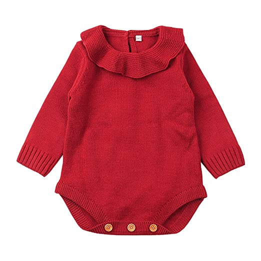 92948aae487 Amazon.com  mimixiong Baby Girl Romper Toddler Knit Jumpsuit Sweater ...