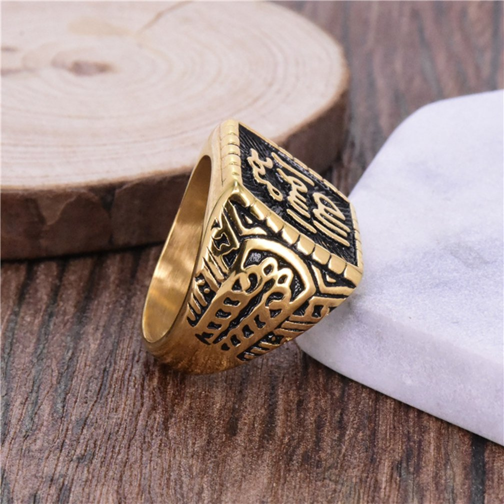 SAINTHERO Men's Stainless Steel Islam Religious Band Vintage Gold Black Muslim Square Signet Rings Hip-hop Jewelry Size 8 by SAINTHERO (Image #3)