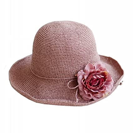ebc0d40f Image Unavailable. Image not available for. Color: SLR Straw hat Female  Beach hat Female Summer Fresh Wild Fisherman hat Beach Sunscreen Cover Sun