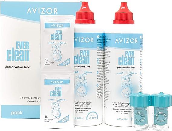 Líquido de lentillas AVIZOR EVER CLEAN 2 x 350 ml. Solución para limpieza y desinfección de todo tipo de lentes de contacto.: Amazon.es: Salud y cuidado personal